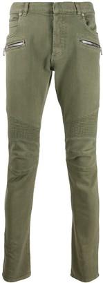Balmain zipped skinny biker jeans
