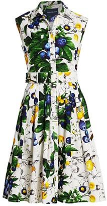 Samantha Sung Audrey Floral-Print Belted Cotton Shirtdress
