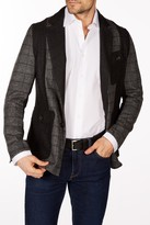 Levinas Light Charcoal Windowpane Two Button Notch Lapel Wool Slim Fit Blazer