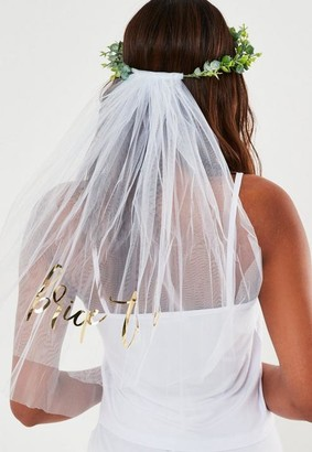 Missguided White Botanical Bride To Be Veil