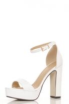 Quiz White PU Block Heel Platform Sandals