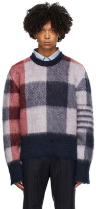 Thom Browne Red and Blue Fun Mix Buffalo Check Sweater