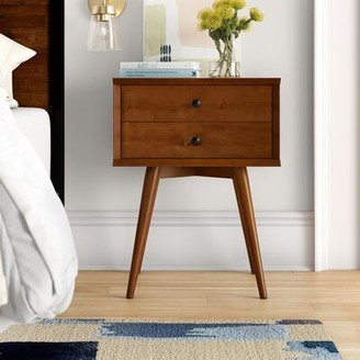 Foundstone Grady Mid-Century 2 Drawer Nightstand Color: Castanho