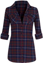 Hot From Hollywood Women's Classic Collar Button Down Roll Up Long Sleeve Plaid Flannel Shirt