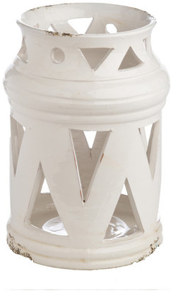 Abigails White Ceramic Lantern with Cutouts