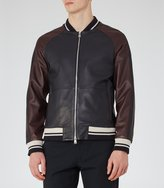 Reiss Pastourelle - Leather Stripe Bomber Jacket in Blue, Mens