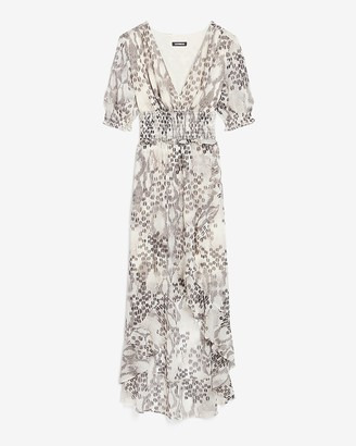 Express Animal Print Smocked Waist Midi Dress