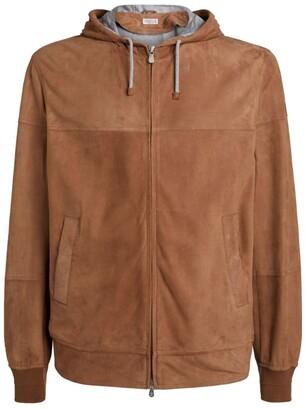 Brunello Cucinelli Leather Hooded Jacket