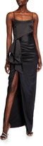 LIKELY Eloise Side-Drape Satin Column Gown