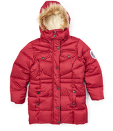 U.S. Polo Assn. Beet Red Snap Puffer Coat - Toddler & Girls