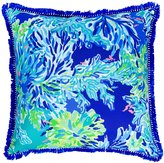 Lilly Pulitzer Wade and Sea Coral-Print Canvas Indoor/Outdoor Square Pillow