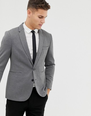 Burton Menswear pique blazer in gray