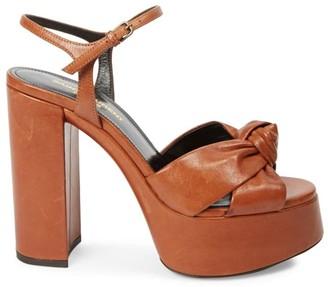 Saint Laurent Bianca Leather Platform Sandals
