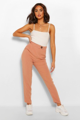 boohoo Linen Trousers With Button Detail