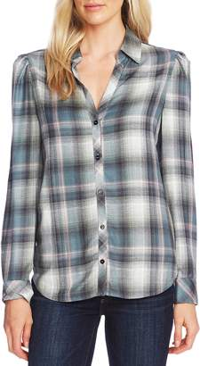 Vince Camuto Puff Shoulder Check Plaid Shirt