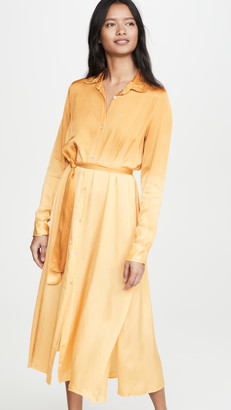 Forte Forte Deep Dyed Satin Chemisier Belted Dress