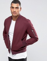 Asos Bomber Jacket With Sleeve Zip In Burgundy