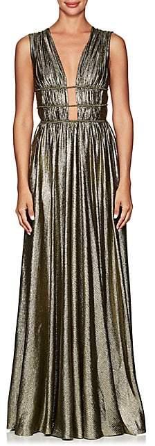 Alberta Ferretti Women's Silk-Blend Lamé Gown - Gold