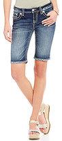 Miss Me Thick Stitch Stretch Denim Bermuda Shorts
