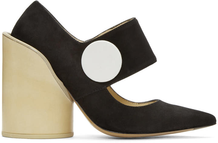 Jacquemus Black Suede les Chaussures Gros Boutons Heels