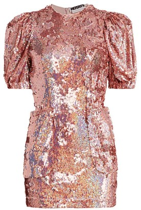 Rotate by Birger Christensen Katie Puff Sleeve Sequin Mini Dress