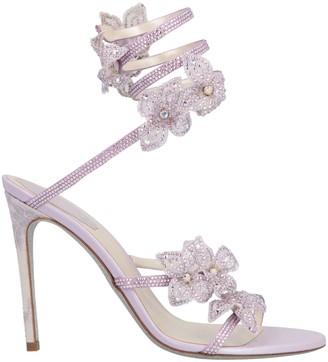 Rene Caovilla Crystal Flower Embellished Sandals
