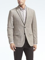 Banana Republic Standard Gray Plaid Linen Blazer