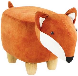 """Critter Sitters 11"""" Seat Height Fox Animal Shape Mini Ottoman"""
