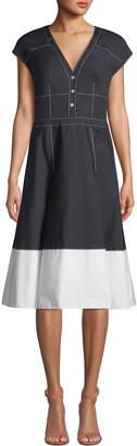 Carolina Herrera V-Neck Cap-Sleeve Colorblock Fit-and-Flare Dress