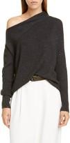 Brunello Cucinelli One Shoulder Sequin Cashmere & Silk Sweater