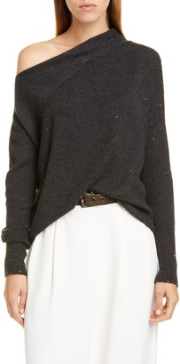 Brunello Cucinelli One Shoulder Sequin Cashmere & Silk Sweater