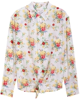 Equipment Daddy Tie Front Western Floral Silk Shirt