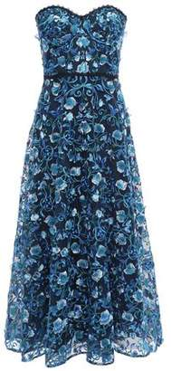 Marchesa Strapless Embellished Tulle Midi Dress