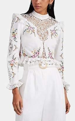 Zimmermann Women's Allia Floral-Embroidered Linen-Cotton Crop Top - White