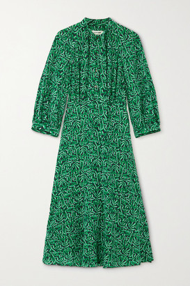 Cefinn Daria Pussy-bow Printed Silk Midi Dress - Forest green
