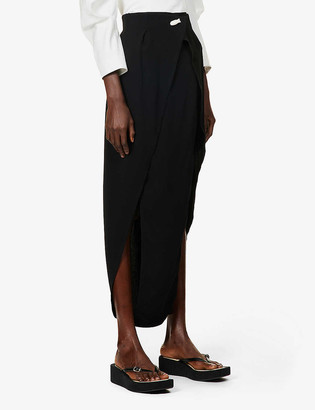 BEVZA Duck high-waisted crepe midi wrap skirt