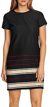 Vince Camuto Linear Planes Short Sleeve Shift Dress