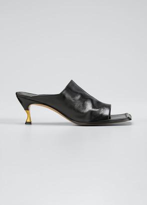 Bottega Veneta Leather Extended Square-Toe Mules