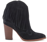 Sam Edelman Women's Benjie Leather Tassle Heeled Ankle Boots Black