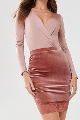 Forever 21 Velvet Lace-Trim Mini Skirt