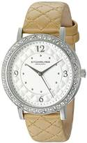 Stuhrling Original Women's Quartz Watch with Silver Dial Analogue Display and Beige Leather Strap 786.01
