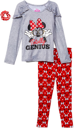 Children's Apparel Network Girls' Leggings LTGRE - Minnie Mouse Gray 'Totally Genius' Ruffle-Shoulder Tunic Set - Toddler & Girls