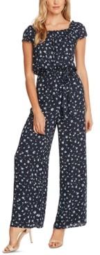 CeCe Floral-Print Cinched-Waist Jumpsuit