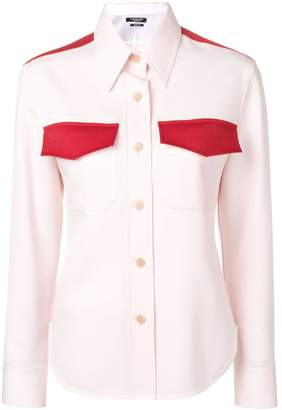Calvin Klein contrast insert wool western shirt