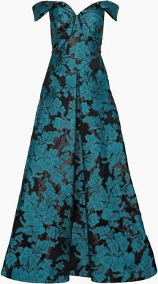 Zac Posen Off-the-shoulder Fil Coupe Gazar Gown
