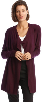 Basque Drape-Front Cardigan In Grape Purple