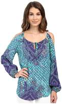 Hale Bob Animal Intuition Long Sleeve Blouse with Keyhole Detail