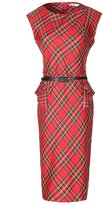 Moonpin Women's Sleeveless Plaid Pencil Dress With Belt Plus Size M
