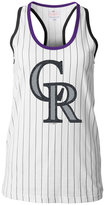 5th & Ocean Women's Colorado Rockies Pinstripe Glitter Tank Top