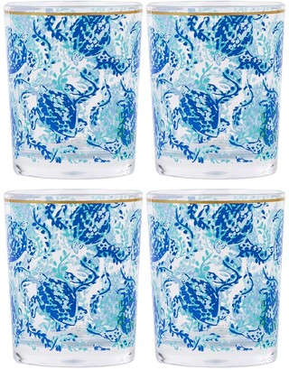 Lilly Pulitzer Turtley Awesome Acrylic Lo Ball Glass - Set of 4